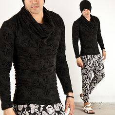 Tops - BLACK ROSE PATTERN SLIM TURTLE TEE - 386 for only 40.00 !!!