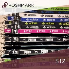 Choose 3 Lanyards Adidas / LOVE PINK/ UA / POLO Simply comment which 3 colors u would like once purchase has been made. No tags. As shown on picture. No accepting offers or trades ❌.                                                                        1 lanyard $6 2 lanyards $10 3 lanyards $12 4 lanyards $14 5 lanyards $16 6 lanyards $18 PINK Victoria's Secret Accessories Key & Card Holders