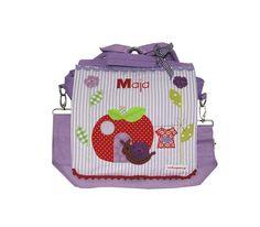 Kindergartenrucksack mit Namen -Apfelhäuschen-lila von wohnzwerg auf http://de.dawanda.com/product/50518002-Kindergartenrucksack-mit-Namen--Apfelhaeuschen-lila
