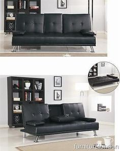 PU Modern Style Luxury Sofa Bed with Drink Cup Holder Table. FAUX LEATHER…