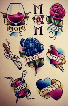 47 ideas tattoo old school rose mom Dad Tattoos, Rose Tattoos, Flower Tattoos, Body Art Tattoos, Sleeve Tattoos, Traditional Roses, Traditional Flash, American Traditional, Traditional Tattoo Mom
