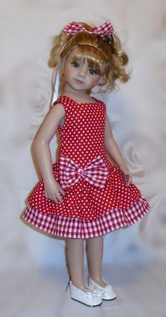 dress hair bow for Dianna Effner Maru friends 20 doll By Vintagebaby Sewing Doll Clothes, American Doll Clothes, Girl Doll Clothes, Doll Clothes Patterns, Fashion Kids, 90s Fashion, Fashion Dolls, Girl Dress Patterns, Little Girl Dresses