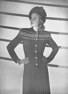 Vintage Knitting Pattern Jacquard Two Piece Knit Suit New Angles Bust Size 32 to 38 Inches PDF Instant Download