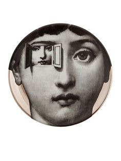 by Farfetch: Printed black and white china coaster from Fornasetti featuring a woman with an opening at the eye displaying a second woman Piero Fornasetti, Fornasetti Wallpaper, Max Ernst, Italian Painters, Grafik Design, Art Plastique, Altered Art, Collage Art, Graphic Art