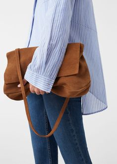 Flap leather bag | MANGO