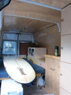 """""""Stealth"""" DIY Sprinter camper interior, looking rearwards Mercedes Sprinter Camper Van, Sprinter Rv, Sprinter Van Conversion, Camper Conversion, Van Life Blog, Van Conversion Interior, Campervan Interior, Diy Camper, Camper Ideas"""
