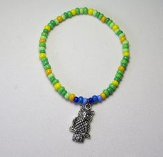 Spring Glass Bead and Owl Charm Bracelet by Sydric on Etsy, $6.20