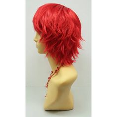 Short Layered Wind Blown Shag Style Red Cosplay Wig Anime Cosplay Wig... ($40) ❤ liked on Polyvore featuring costumes, bath & beauty, grey, hair care, wigs, cosplay costumes, role play costumes, holiday costumes, red wig costume and wig costumes