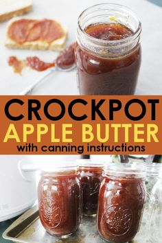 This crockpot apple butter recipe is a wonderful treat during the fall! Eat it fresh, or with these instructions for how to can apple butter you'll be able to enjoy it all year round! Apple Butter Canning, Homemade Apple Butter, Homemade Recipe, Home Canning Recipes, Crockpot Recipes, Cooking Recipes, Freezer Jam Recipes, Healthy Recipes, Butter Crock
