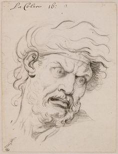 LE BRUN Charles, La Colère. Pierre noire sur papier blanc. Réunion des Musées Nationaux-Grand Palais -