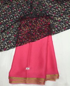 bright pink chiffon saree with grey emboridery blouse piece To purchase mail us at houseof2@live.com or whatsapp us on +919833411702 for further detail