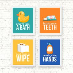 Bathroom rules art prints kids bathroom by RainbowsLollipopsArt