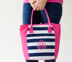 Pink & Navy Stipe Cooler Tote by charleyjoscreations2 on Etsy
