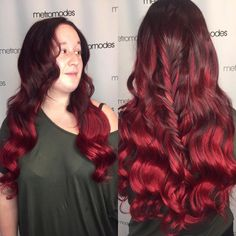 Red Ombre Brushed Out Curls