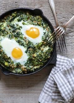 Creamy Spinach with Fried Eggs by atastylovestory #Savory_Breakfast #Eggs #Spinach
