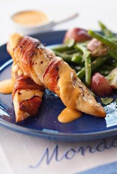 Bacon-Wrapped Chicken Breasts with Chile Cheese Sauce - Recipes, Dinner Ideas, Healthy Recipes & Food Guide