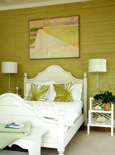 Modern bedding design within reach dwr - Green Cottage Bedroom Design With Green Grasscloth Wallpaper White