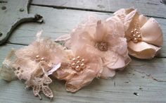 French Country Linen & Lace Fabric Flowers -  Wedding Decorations - Linen Embellishments  - Fabric Flowers