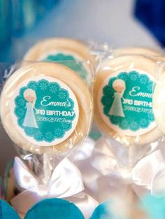 Frozen Birthday Party cookie pops!  See more party planning ideas at CatchMyParty.com!