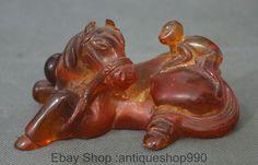 5  Chinese Folk Fengshui Amber Zodiac Year Horse Monkey Animal Statue Sculpture