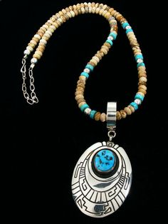 Turquoise, jasper and silver necklace, signed by Tommy Singer, Navajo