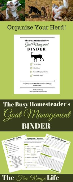 The Busy Homesteader's Goat Management Binder! To-do lists, checklists, record sheets, and resource pages! All you need for efficient care and happy healthy goats!