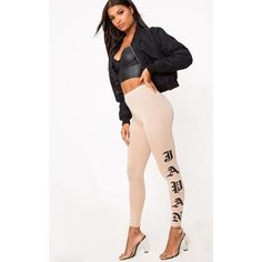 Japan Print Nude Leggings ($8.09) ❤ liked on Polyvore featuring pants, leggings, pink, form fitting pants, print pants, pink leggings, print leggings and nude leggings