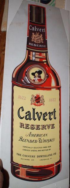 Calvert Reserve Whiskey bottle1956 Advertising George Bares illustrator art #Calvert