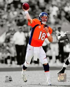 Peyton Manning Black and White /Color Brocos Picture.  Best Peyton Manning Picture #orange #football #nfl