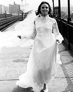 In 1974, Rhoda (Valerie Harper) married Joe Gerard (David Groh) in a long-sleeve turtleneck gown embellished with flowers.