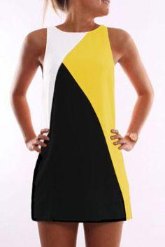 Sleeveless Round Neck Contrast Color Mini Dress