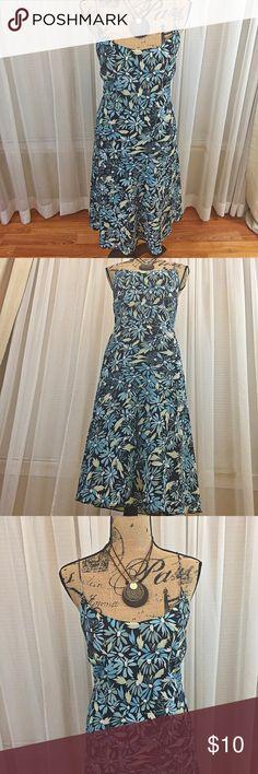 Express sundress Adorable sundress with spaghetti straps. Flowy skirt. Mid calf length dress. Like new. Worn once. Express Dresses