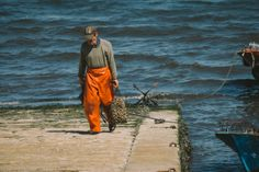 Carrying mussels.