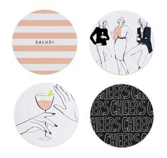 These fun and stylish circle coasters feature designs by Garance Doré! The perfect accessory for your holiday party. Set of thick pulp board coasters.<br><br>Size - 4 each