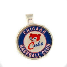 Chicago Cubs Alternate Logo pendant. Baseball necklace. NL. Personalised Silver,Glass dome pendant. Gift for woman by Mysstic on Etsy