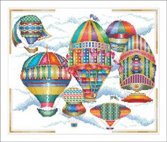 """18th Century Balloons"" by Vickery Collections, 160 x 192 Stitches"
