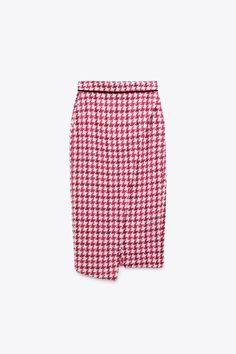TEXTURED WEAVE HOUNDSTOOTH SKIRT - raspberry   ZARA United States Houndstooth Skirt, Look Zara, Midi Skirt, Dress Skirt, Rock, High Waisted Skirt, Suits, Cotton, 21st Dresses