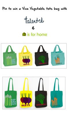 Repin to win your choice of Viva Vegetables tote bag from @madebytalented & @hisforhome