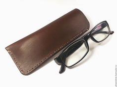 Купить Чехол для очков, стильный, натуральная кожа - коричневый, чехол, футляр, для очков, Чехол для очков