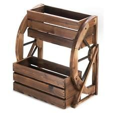 PLANT STAND: DOUBLE TIER RUSTIC FIR WOOD COUNTRY WAGON WHEEL OUTDOOR PLANTER