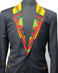Gonna have my client looking like he's representing the nation of Wakanda during a UN convention! Custom piece with accentend Kente cloth and O. Nigerian Men Fashion, African Men Fashion, African Wear, African Dress, African Shirts For Men, African Clothing For Men, Moda Afro, Custom Made Suits, Kente Cloth