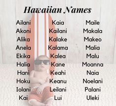 Baby Girl Names Unique, Cute Baby Names, Pretty Names, Boy Names, Unique Baby, Hawaiian Baby Girl Names, Unique Names, Unisex Name, Unisex Baby Names
