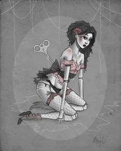 8x10 Victorian Gothic pinup digital art lustre by MeganMissfit, $17.00