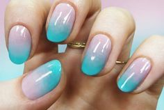 Gradient Pastel Nail Art Tutorial | TeenVogue.com  Not for me, but I can see it being very popular--kinda cute!