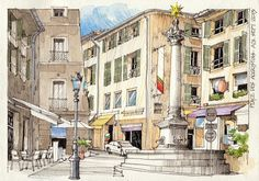 Art Tools of Jorge Royan Building Illustration, Graphic Illustration, Illustrations, Urban Sketchers, Environment Sketch, Pen And Wash, Pen And Watercolor, Architecture Drawings, Classical Architecture