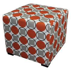 Sole Designs Merton Collection Abstract Circles Upholstered Ottoman - MERTON-HALO
