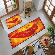 Kitchen Area Rugs, Living Room Area Rugs, Southwest Decor, Southwest Style, Mexican Style Kitchens, Red Chili Peppers, Fiesta Decorations, Mexican Designs, Kitchen Decor Themes