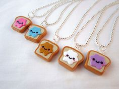 polymer clay charms   Best Friends Kawaii Peanut Butter and Jelly Toast Polymer Clay Charms ...