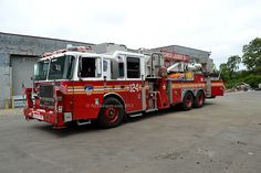 "FDNY Tower Ladder 124 ""Tonka Truck"" Brooklyn, New York.  Photo by nyfirestore.com"