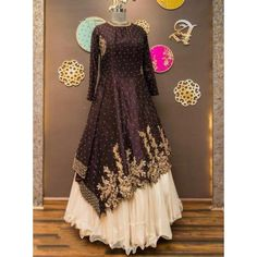 designer embroidered gown style indowestern lehenga
